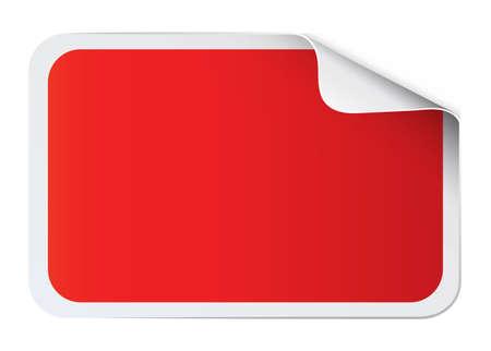 on white: Red sticker on white illustration