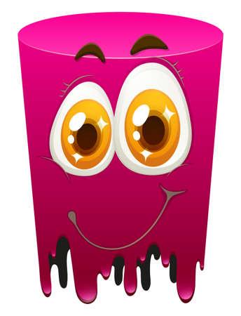 carita feliz: Tubo de color rosa con la cara feliz ilustraci�n