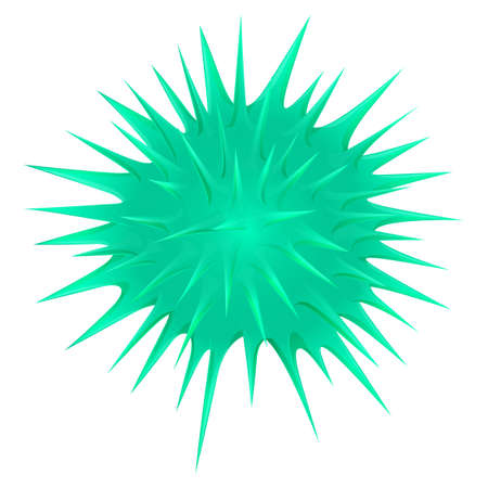 thorny: Green thorny ball on white illustration