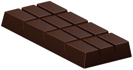 dark chocolate: Dark chocolate bar on white illustration