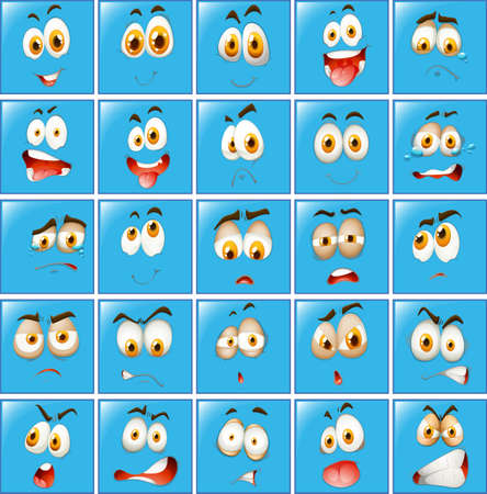 blue eyes: Facial expression on blue button illustration