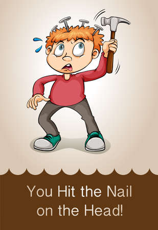 injure: Hit the nail on the head illustration