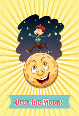 idiom: Idiom over the moon illustration Illustration