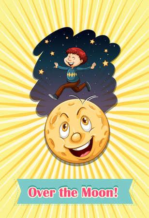 idiom: Idiom over the moon illustration Illustration