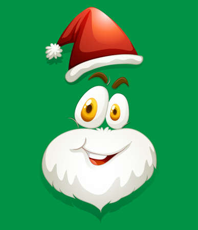 green face: Santa face on green illustration