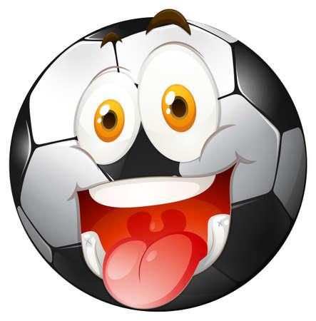 soccer: Smiling face on football illustration
