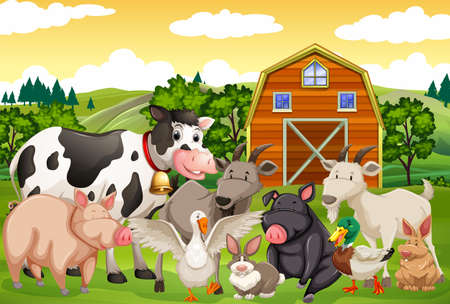 Farm animals in the farm illustration 向量圖像