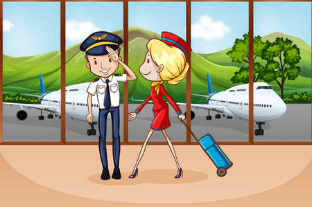 Cabin crew at airport illustration