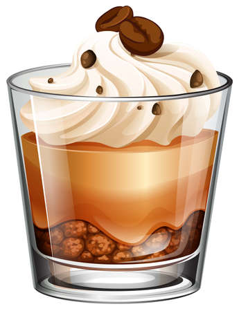 white beans: Coffee cake in glass illustration