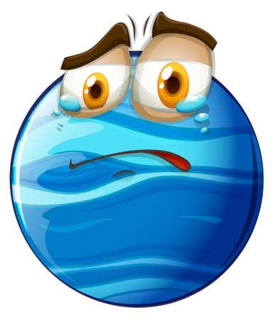 the blue planet: Crying face on blue planet illustration