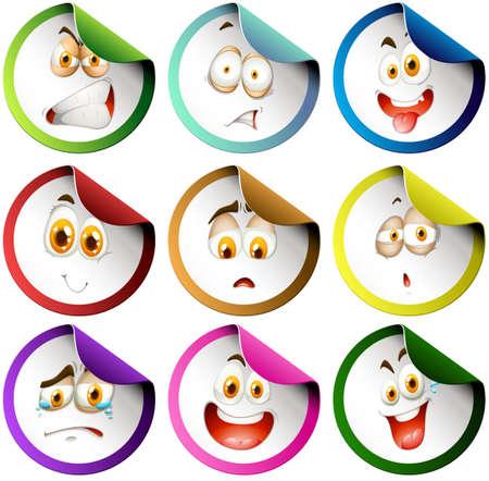 expression visage: Autocollants avec l'expression du visage illustration