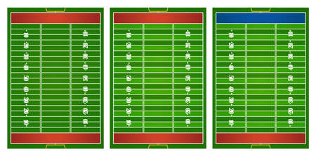 football field: Football field in three design illustration Illustration