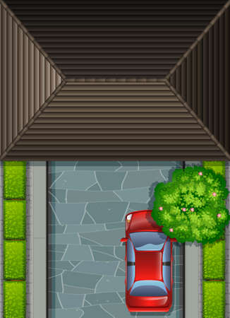 rooftop: Garage rooftop and red car illustration Illustration