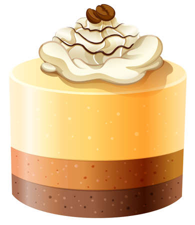 layer cake: Layer cakes with creame topping illustration
