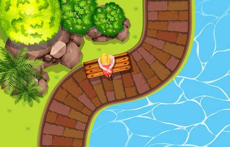 tree top view: Fille assise près de la piscine illustration Illustration