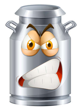 stainless: Angry face on milk tank illustration