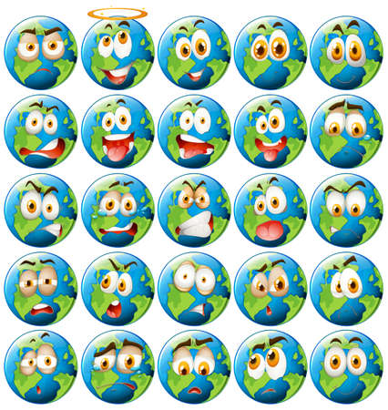 facial expression: Earth with facial expression illustration Illustration