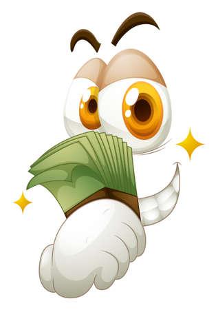 stingy: Money in hand on white illustration