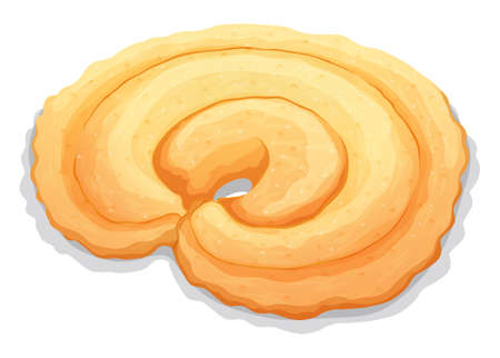 buttery: Round cookie on white illustration