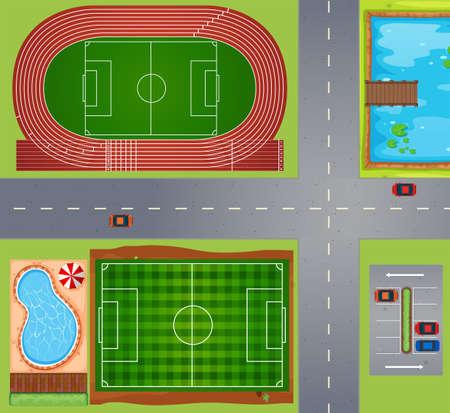 cenital: Deporte campos y canchas ilustración