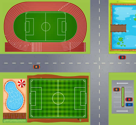 track and field: Sport fields and courts illustration