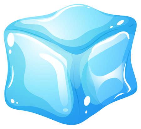 Ice cube on white illustration