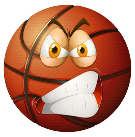 agressive: Angry face on basketball illustration