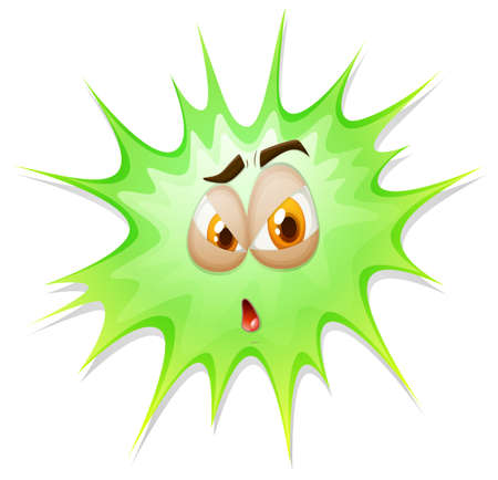shocking face: Green expolsion with face illustration Illustration