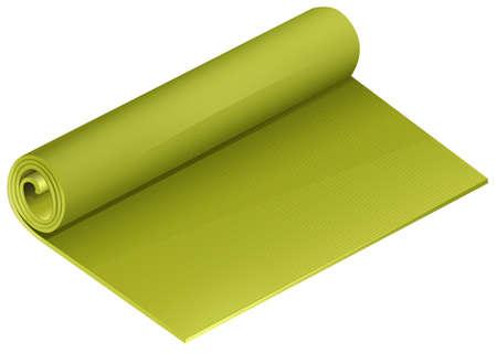mattress: Green yoga mattress roll illustration