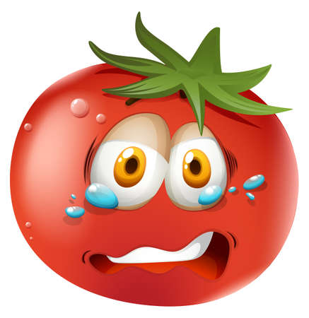 tomatoes: Crying face on tomato illustration Illustration