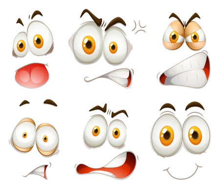 silly: Facial expression on white illustration