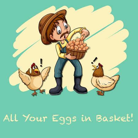 figurative art: All your eggs in basket illustration Illustration