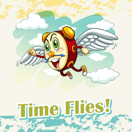 time flies: English idiom time flies illustration