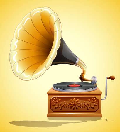 Gramophone with recorder on yellow illustration Illustration