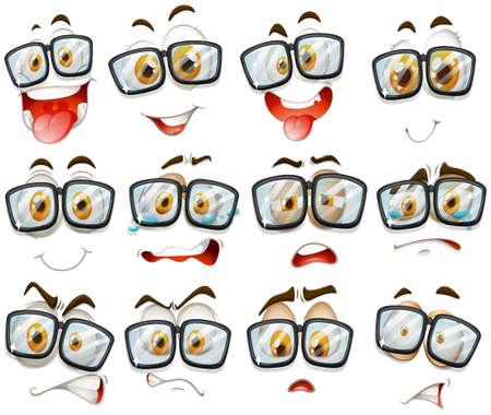 expression visage: L'expression du visage avec des lunettes illustration
