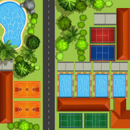cartoon landscape: Community service with courts and pools illustration