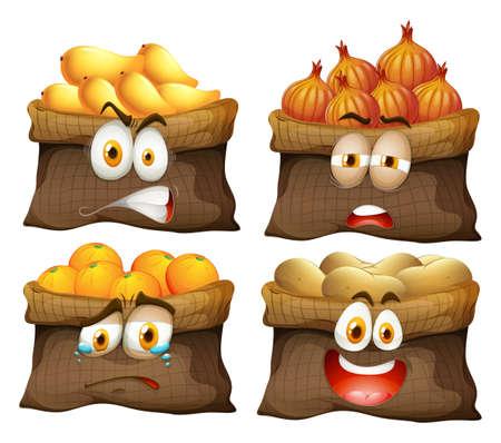 fruit and vegetable: Bag of fruit and vegetable illustration