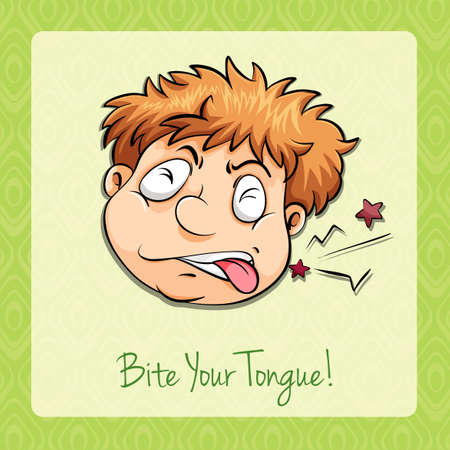 idiom: Idiom bite your tongue illustration Illustration