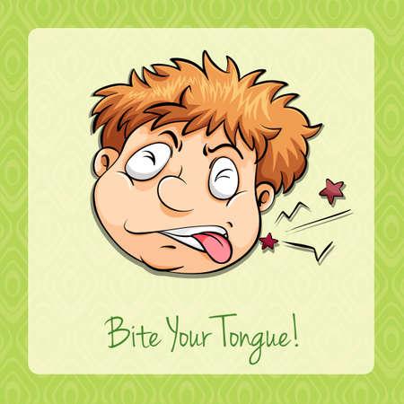 bite: Idiom bite your tongue illustration Illustration