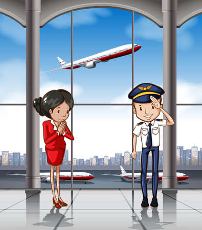 airplane travel: Cabin crew at airport illustration