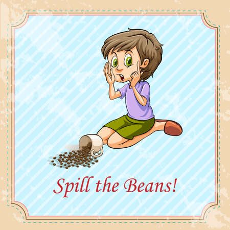 spill: Idiom spill the beans illustration