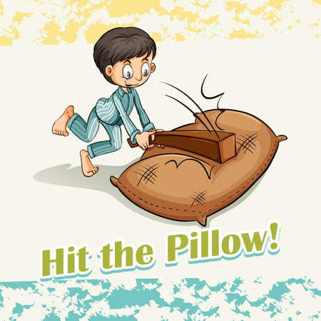 figurative: Idiom hit the pillow illustration