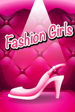 high heel: Pink high heel in spotlight illustration Illustration
