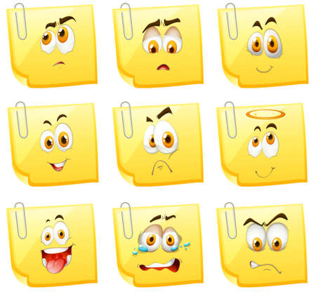 yellow paper: Facial expression on papers illustration Illustration