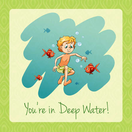 Youre in deep water illustration Illustration