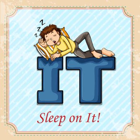 figurative: Idiom sleep on it illustration