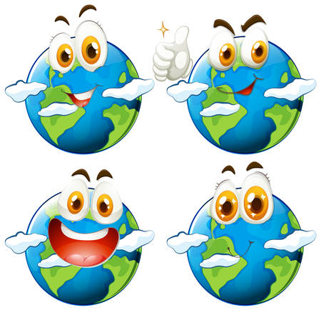 earth planet: Happy face on earth illustration
