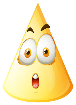 surprising: Yellow cone with face illustration