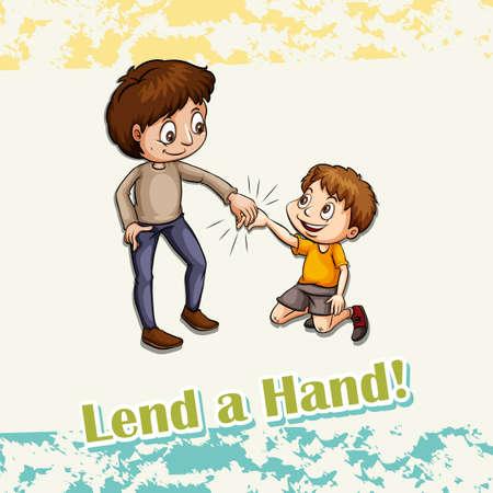 personas ayudando: Idiom echar una mano ilustración Vectores