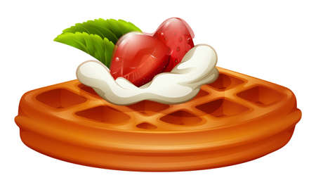 Waffle with strawberry and cream illustration  イラスト・ベクター素材